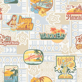 Hawaii stickers with tribal seamless pattern