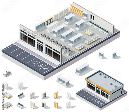 Vector isometric DIY supermarket interior plan