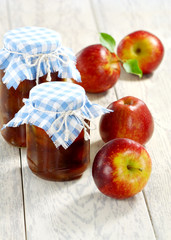 Apple jam and red apples