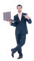 Young business man with notebook on white background.