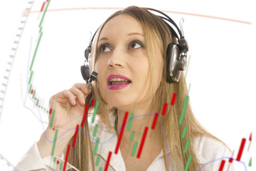 woman behind stock diagram