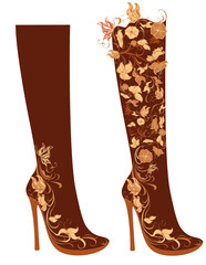 Stylized floral shoes. Stiletto boots.
