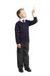 School boy pointing up