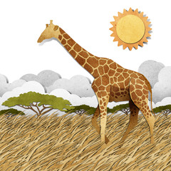 Giraffe  in Safari field recycled paper background