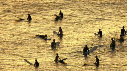 Ocean Surfers Silhouette