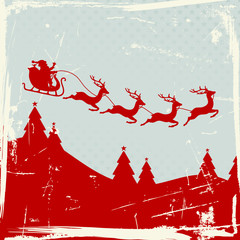 Christmas Sleigh 4 Flying Reindeers Red Retro Background