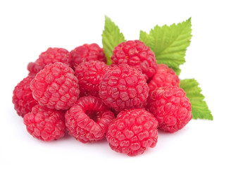 Sweet raspberries with leafs