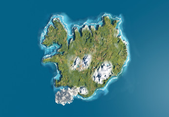 Vulcano Islanda 3d isola