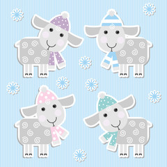 stickers with sheep on a blue background