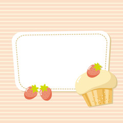 card with a picture of the cake with strawberries