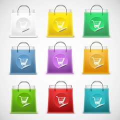 shopping bag vector icon set isolated