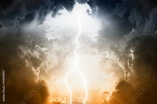 Stormy sky with lightning - 44044857