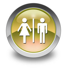 "Yellow Glossy Pictogram ""Restrooms"""