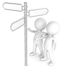 3D little human character X 2 Looking at a Directional Sign