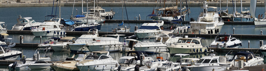 Italy, Sicily, Marina di Ragusa, luxury yachts in the marina
