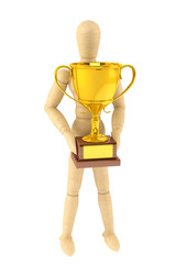 Wooden Dummy with Gold Trophy