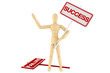 Wooden dummy with Success Banner