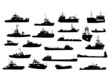 Set of 21 silhouettes of sea yachts, towboat and the ships