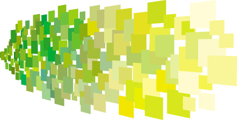 abstract composition with green yellow square plane