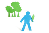 A blue stick figure holding a leaf representing concept of nature perseverance over white background