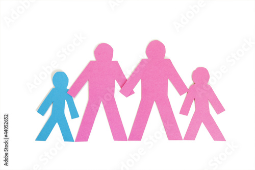 Row of paper stick figures holding hands over white background