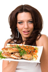 Young woman posing with a meal