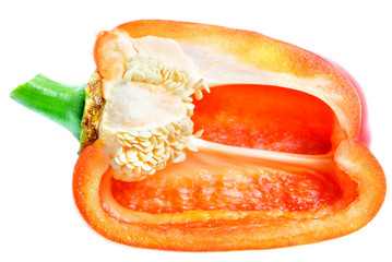 half of sweet bell pepper isolated on white background
