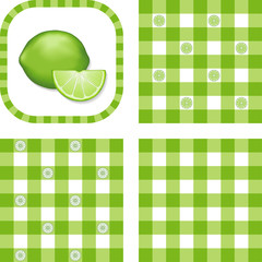 Seamless Gingham Patterns, Lime, EPS includes 3 pattern swatches