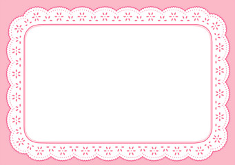Placemat, Pastel Pink Eyelet Lace Embroidery, copy space