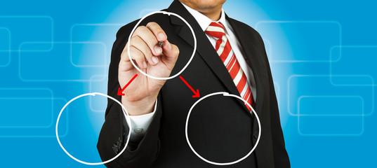 Businessman drawing circle diagram