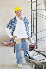 Portrait of a Caucasian male construction worker smiling