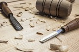 joiner tools on wood table background poster