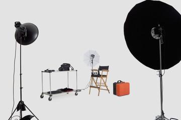 Lighting equipments in photographer's studio