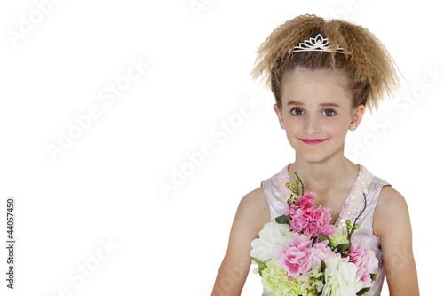 Portrait of a happy bridesmaid over white background