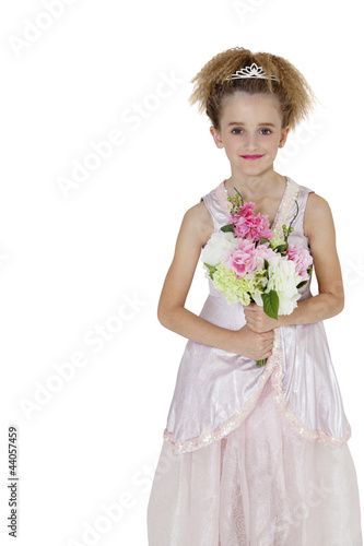 Portrait of bridesmaid standing with bouquet over white background