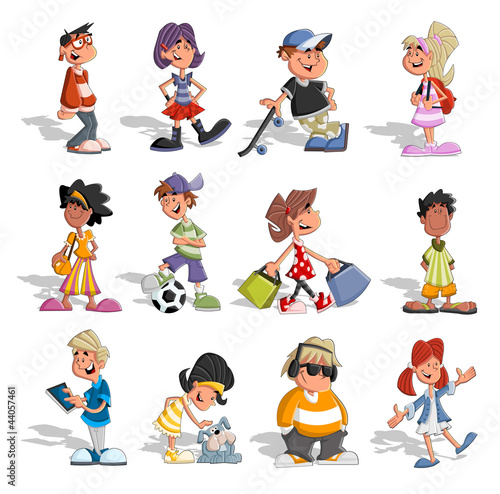 Fototapeta Group cartoon people. Teenagers.