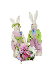 Portrait of stuffed Rabbit couple standing together with flower bouquet over white background