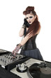 Beautiful DJ with sound mixing equipment over white background