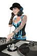 Happy tattooed DJ over white background