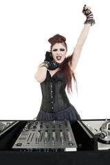Portrait of punk DJ with arm raised over white background