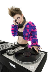 Portrait of punk DJ over white background