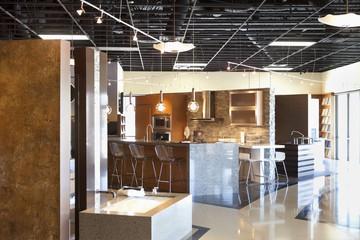 Empty modern kitchen model in store