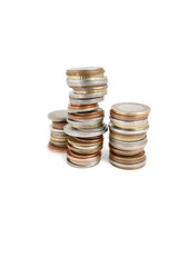 Stack of coins over white background