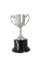Winning trophy over white background