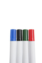 Close-up of multicolored highlighter pens over white background
