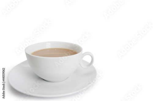Close-up of teacup over white background