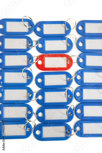 Close-up of red key ring tag surrounded by blue tags