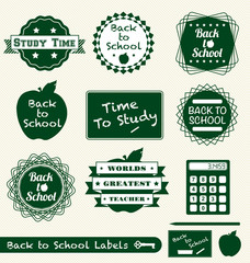 Vector Set: Back to School Labels and Stickers