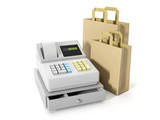 3d illustration: Storage and Commercial. Sales of goods, cash re