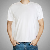 White t-shirt on a young man template on gray background